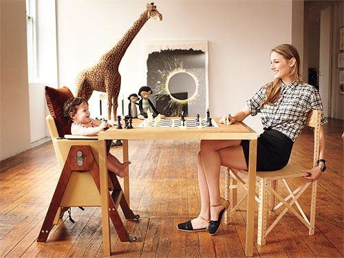 Image: Leelee Sobieski and tot. Courtesy of MamaPop. 1. A chess game.