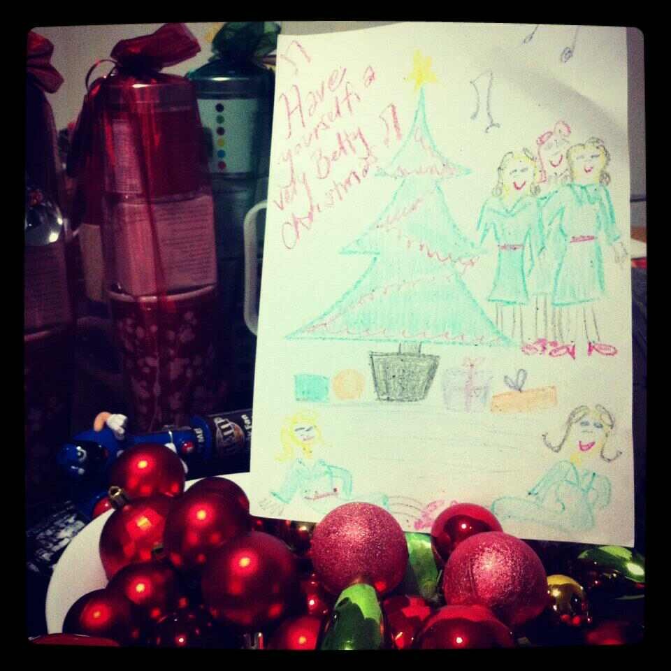 "At last night's rehearsal, ""Bouncy Betty"" Kate drew this up with my kids, who were making Christmas drawings while we sang."