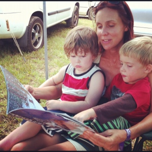 My mate Robyn on reading duty at the campsite.